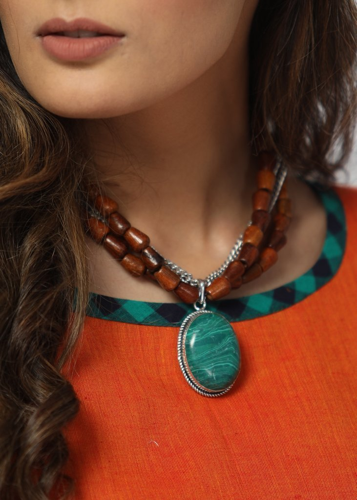 Jewelry - Handmade Neckpiece With Dark Brown Wooden Beads Combined With Forest Green Stone Pendant