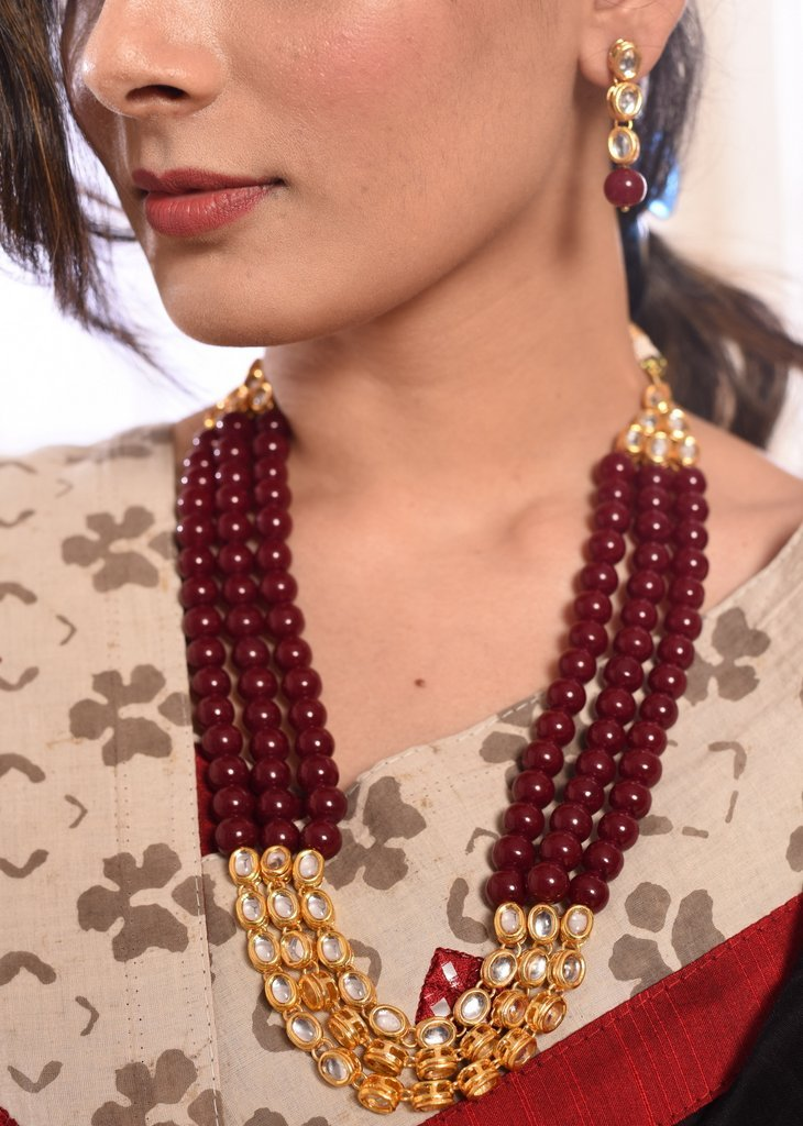 Jewelry - Maroon Stone & Kundan Combination Multilayer Necklace