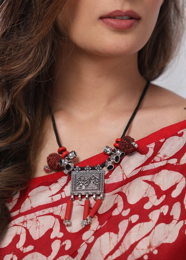 Jewelry - Single Thread Gypsy German Silver Pendent With Rudraksh And Red Beads Neckpiece