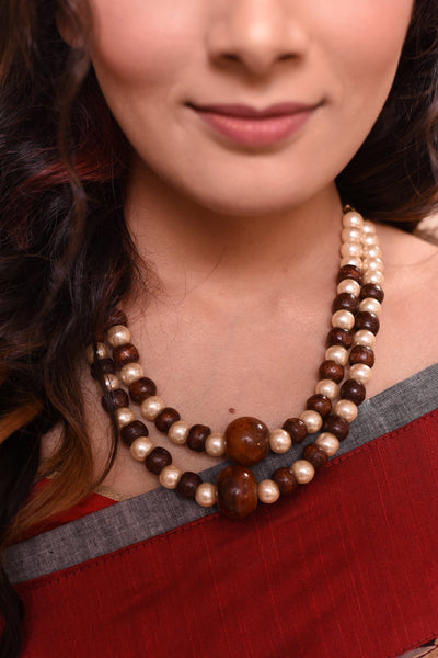 Jewelry - Wooden & Pearl Combination Necklace