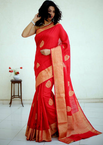 100% Pure moonga dupion silk Benarasi saree