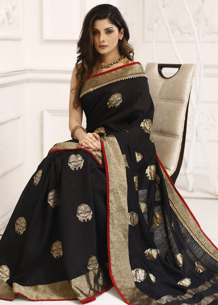 100% Pure moonga dupion silk black benarasi saree - Sujatra