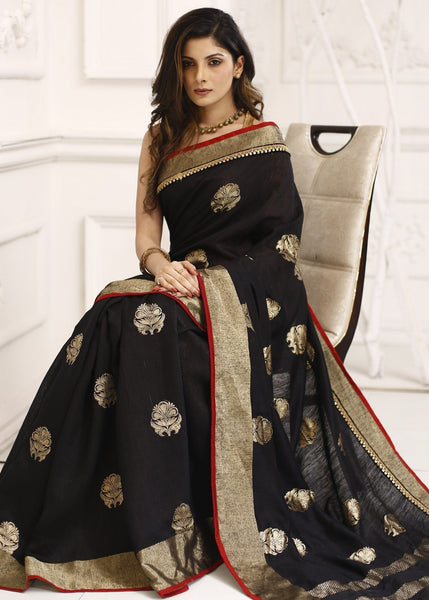 Saree - 100% Pure Moonga Dupion Silk Black Benarasi Saree