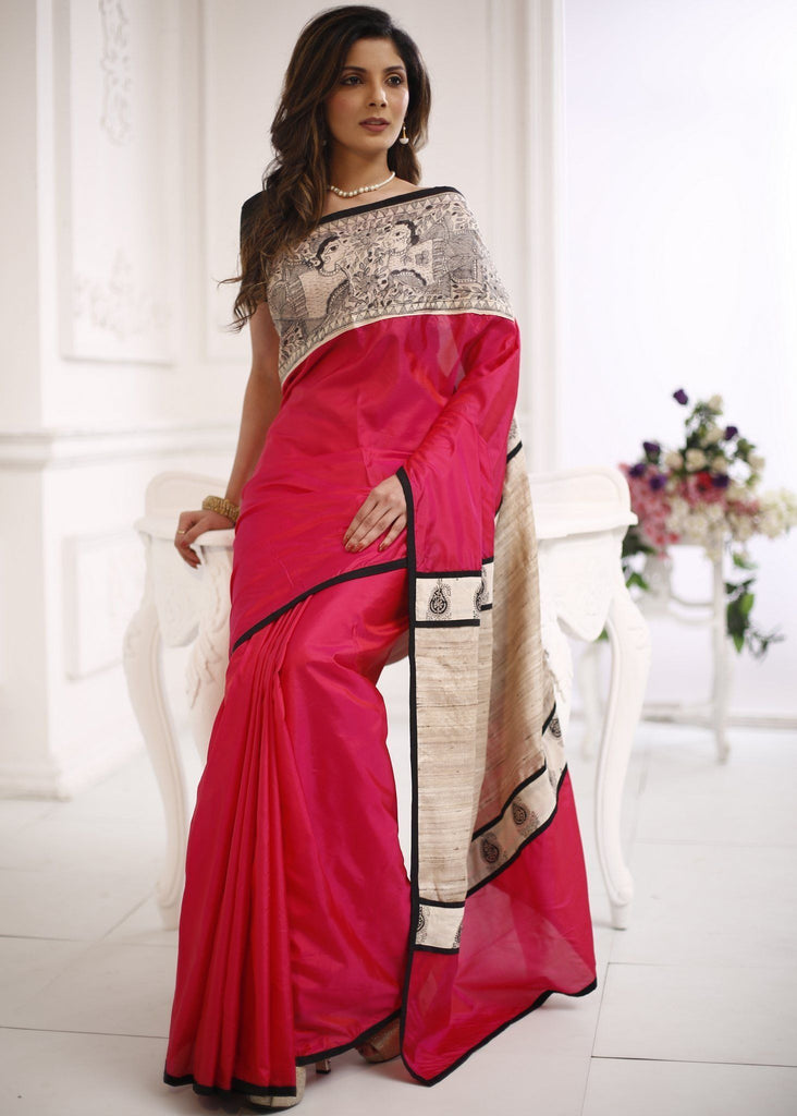 Saree - 100% Pure Silk Saree With Hand Painted Madhubani Art & Pure Silk Pallu