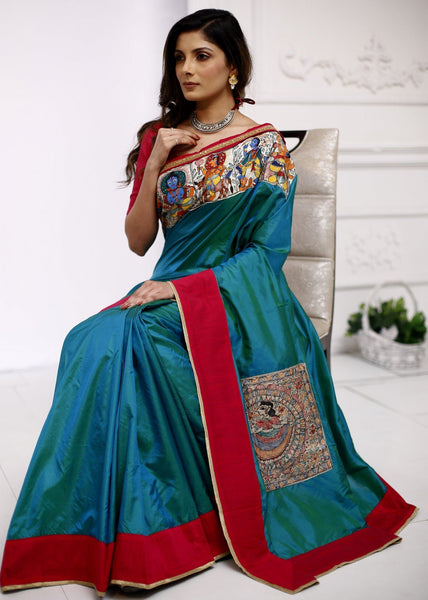 100% pure silk saree with hand painted madhubani painting in front & pallu - Sujatra