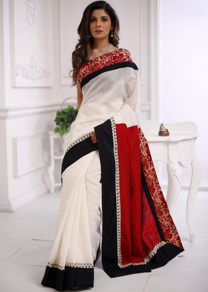 Saree - Abstract Batik Work With White Chanderi & Red Cotton Silk Combination Saree
