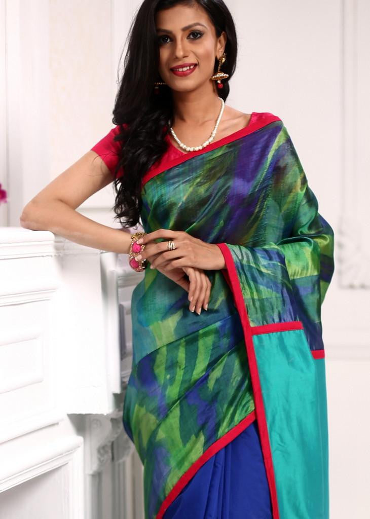 Abstract print on soft pure silk with blue cotton silk combination saree - Sujatra