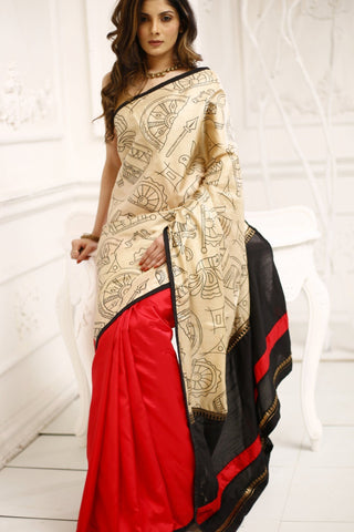 Abstract printed pure tasar silk with pure red mulberry silk saree
