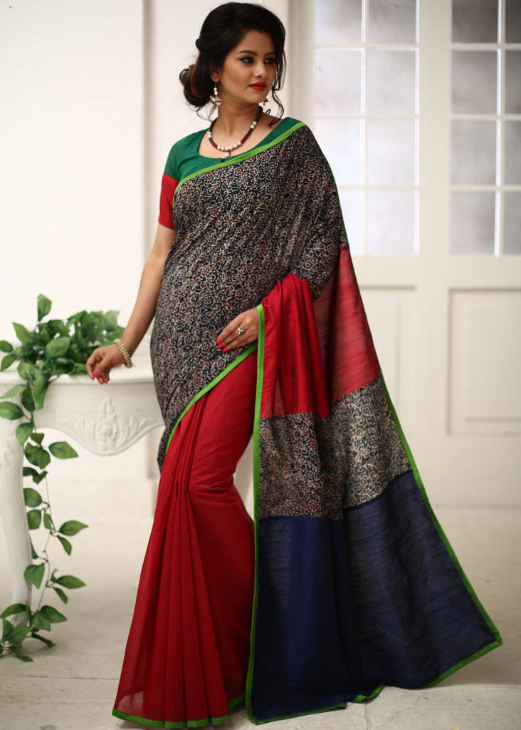 Saree - Ajrah Work Combination With Red Chanderi Pleats & Blue Cotton Silk Saree