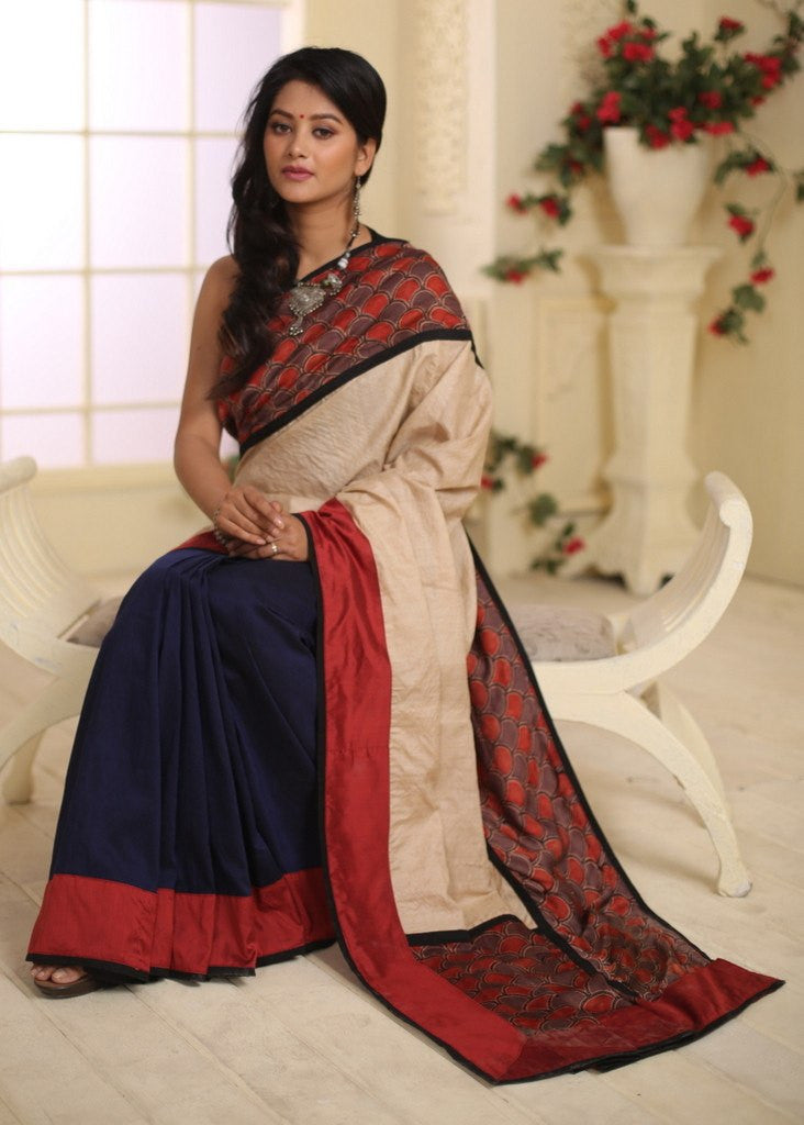 Saree - Ajrakh Print With Pure Tasar Silk And Blue Cotton Silk Pleats