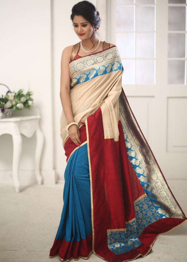 Banarasi work with pure tassar silk saree and blue cotton silk pleats - Sujatra