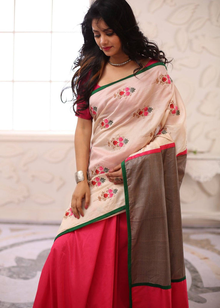 Beautiful floral embroidered chanderi saree with grey kosa silk on pallu & pink chanderi pleats - Sujatra