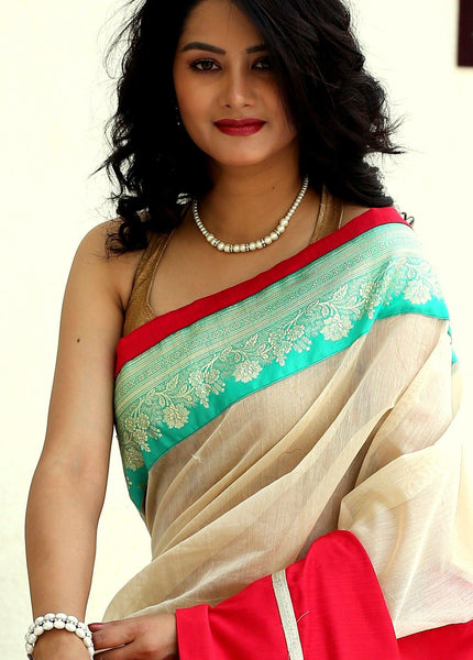 Beige and red chanderi combination saree with benarasi border - Sujatra