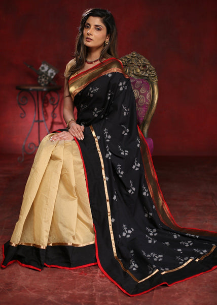 Beige Chanderi and exclusive Ikat cotton combination with zari border saree - Sujatra