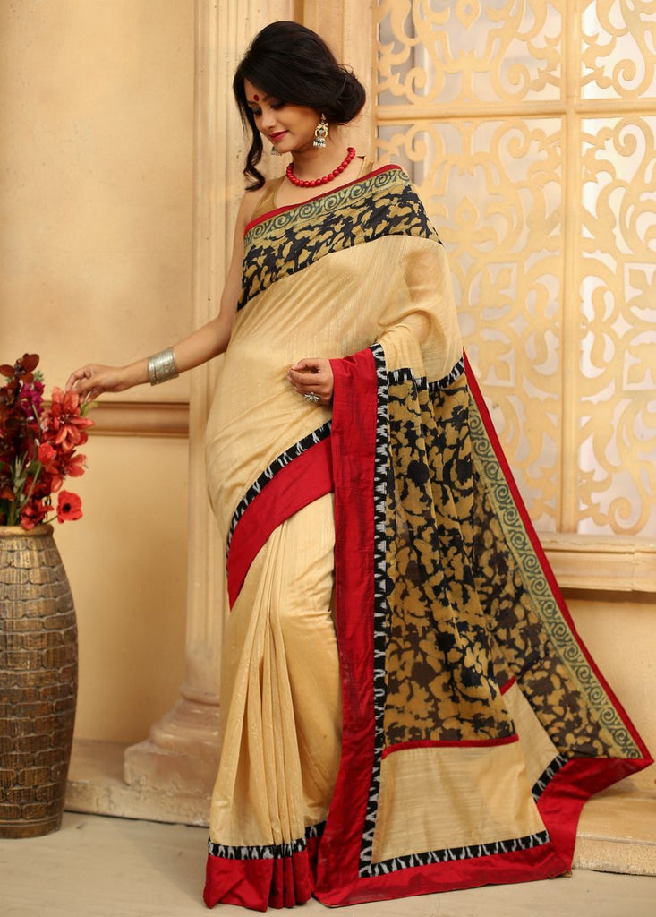 Saree - Beige Chanderi Saree With Abstract Printed Chanderi On Pallu & Border Together With Ikat Border