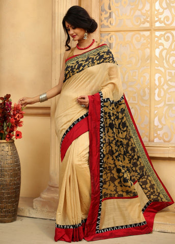 Beige Chanderi Saree with abstract printed chanderi on pallu & border together with ikat border