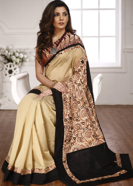 Saree - Beige Chanderi Saree With Benarasi Border And Printed Cotton Pallu