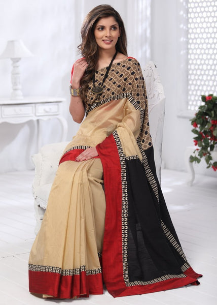 Saree - Beige Chanderi Saree With Block Printed Ajrakh Border & Cotton Silk Pallu