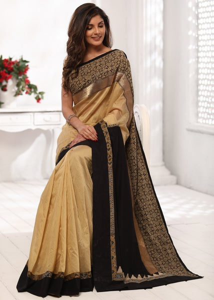 Saree - Beige Chanderi Saree With Block Printed Ajrakh & Zari Border