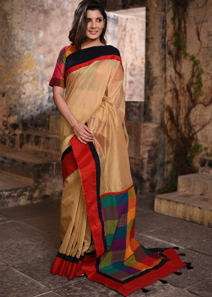 Saree - Beige Chanderi Saree With Chequred Pallu And Blouse