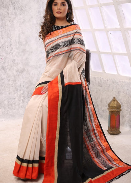 Saree - Beige Chanderi Saree With Ethnic Woven Border