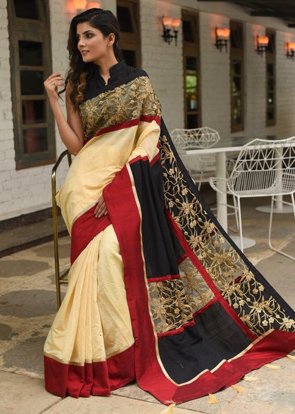 Saree - Beige Chanderi Saree With Exclusive Cut Work Border