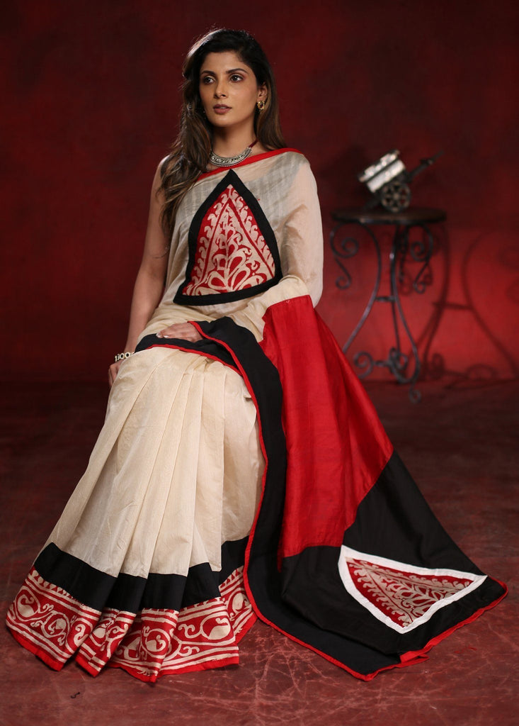 Saree - Beige Chanderi Saree With Hand Batik Work On Pallu, Front And Pleats Border