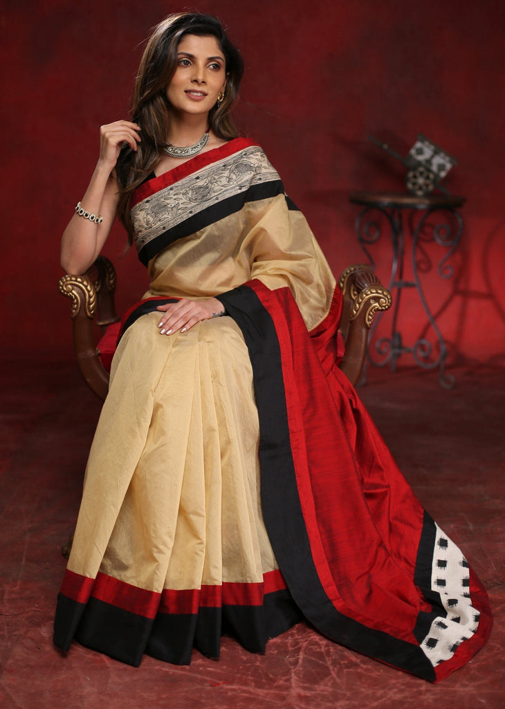 Saree - Beige Chanderi Saree With Hand Painted Madhubani Border & Red Cotton Silk Pallu With Ikat