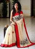 Beige Chanderi saree with hand painted motifs - Sujatra