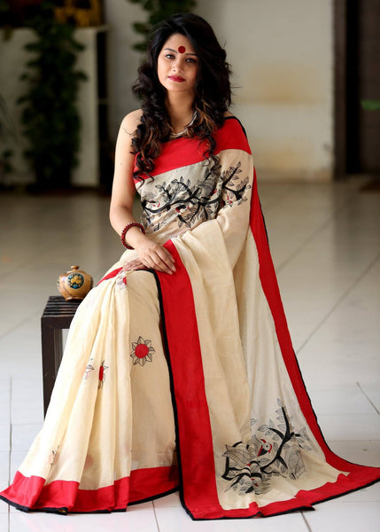 Saree - Beige Chanderi Saree With Hand Painted Motifs