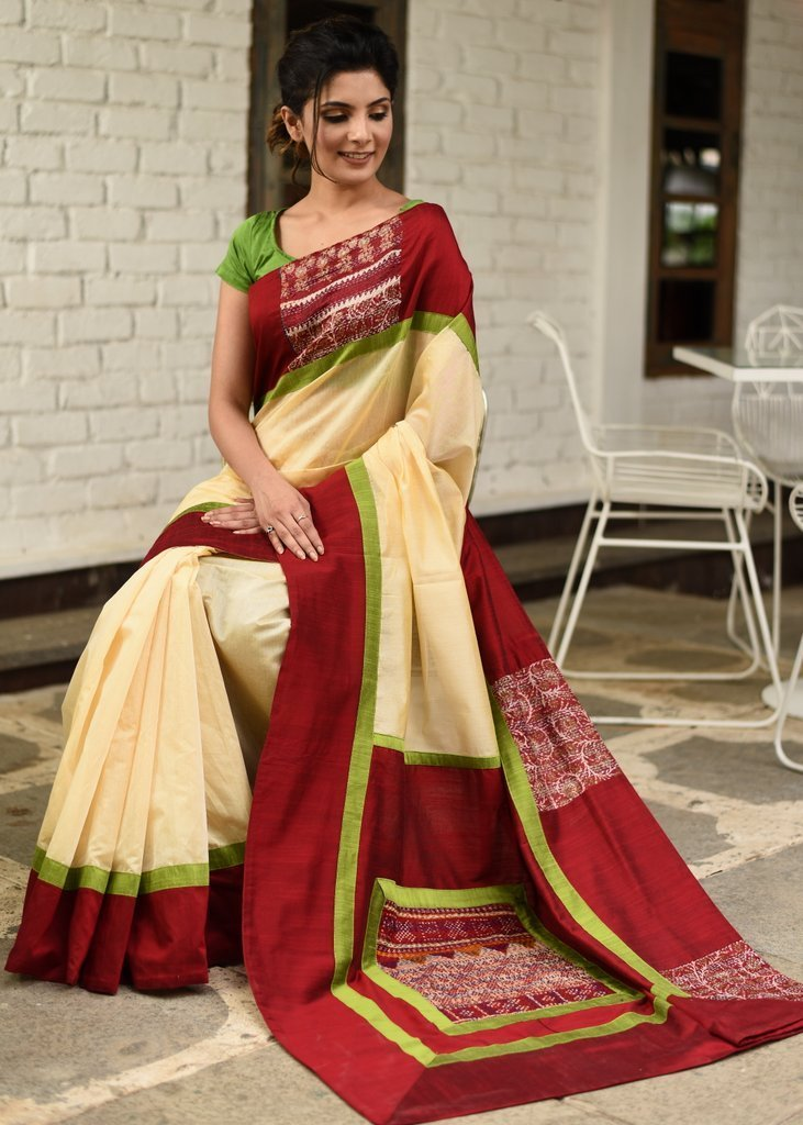 Saree - Beige Chanderi Saree With Katha Stitch Work On Border & Pallu