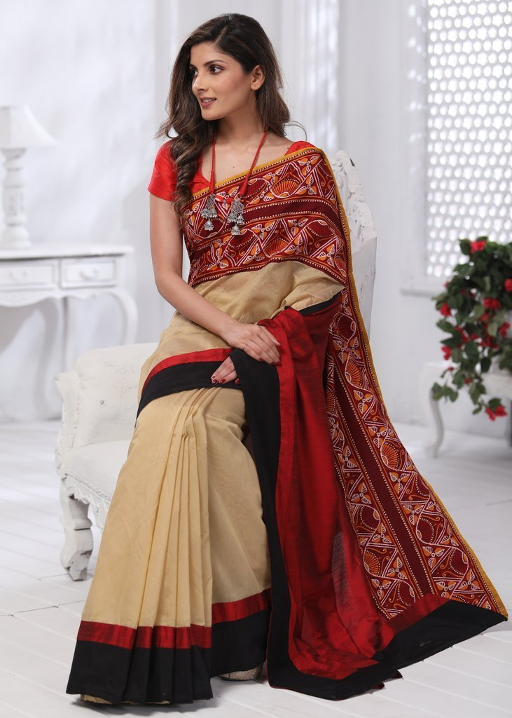 Saree - Beige Chanderi Saree With Shantiniketani Hand Batik Border