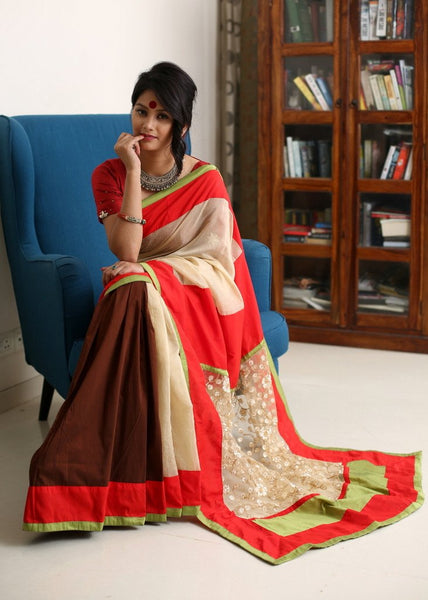 Saree - Beige Chanderi With Brown Slub Silk Pleats & Zari Work Pallu