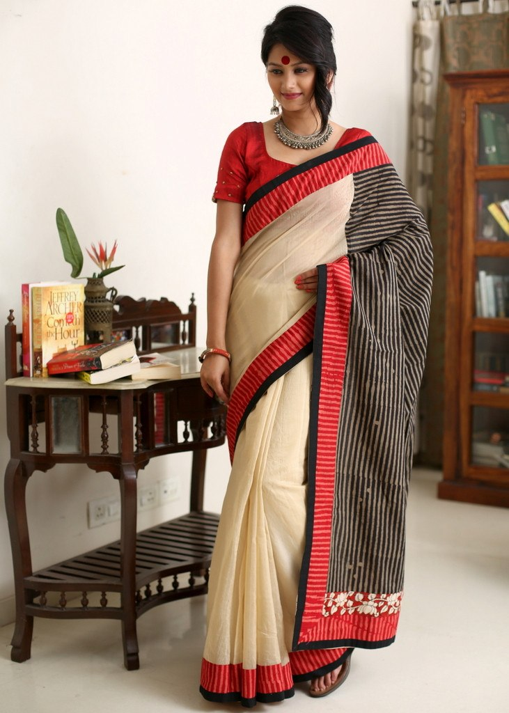 Saree - Beige Chanderi With Striped Cotton Pallu & Hand Kalamkari Patch