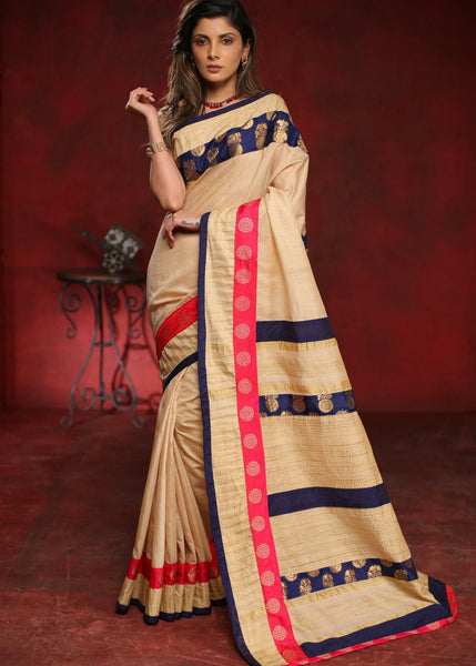Beige cotton silk saree with pink & blue benarasi border