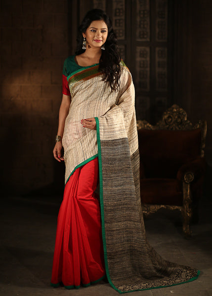 Saree - Beige Ghicha Silk In Front With Katia Silk Pallu & Benarasi Border With Raw Silk Blouse Piece