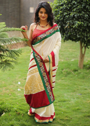 Beige handloom cotton saree with kalmkari border with benarasi work on pallu