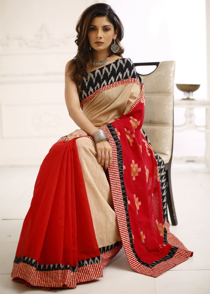 Saree - Beige & Red Chanderi Saree With Exclusive Ikat Pallu & Border
