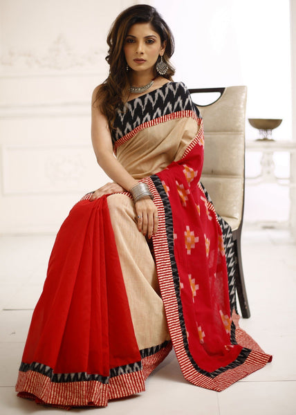 Beige & Red chanderi saree with exclusive ikat pallu & border - Sujatra