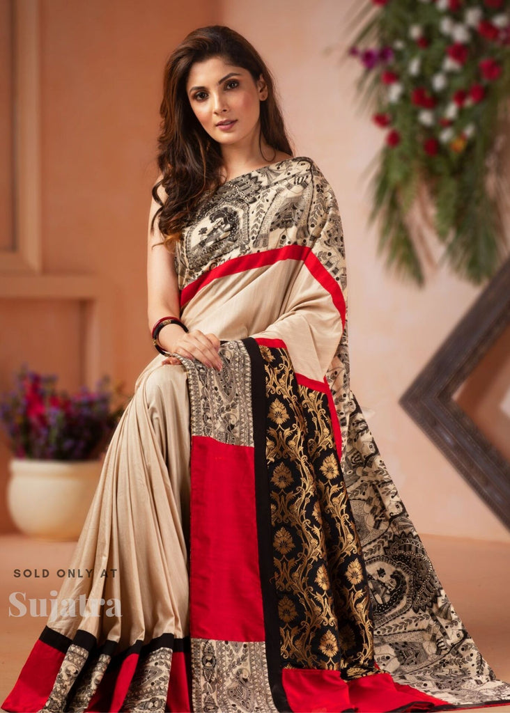 Saree - Beige Semi Silk Saree With Madhubani Printed Border & Benarasi Pallu