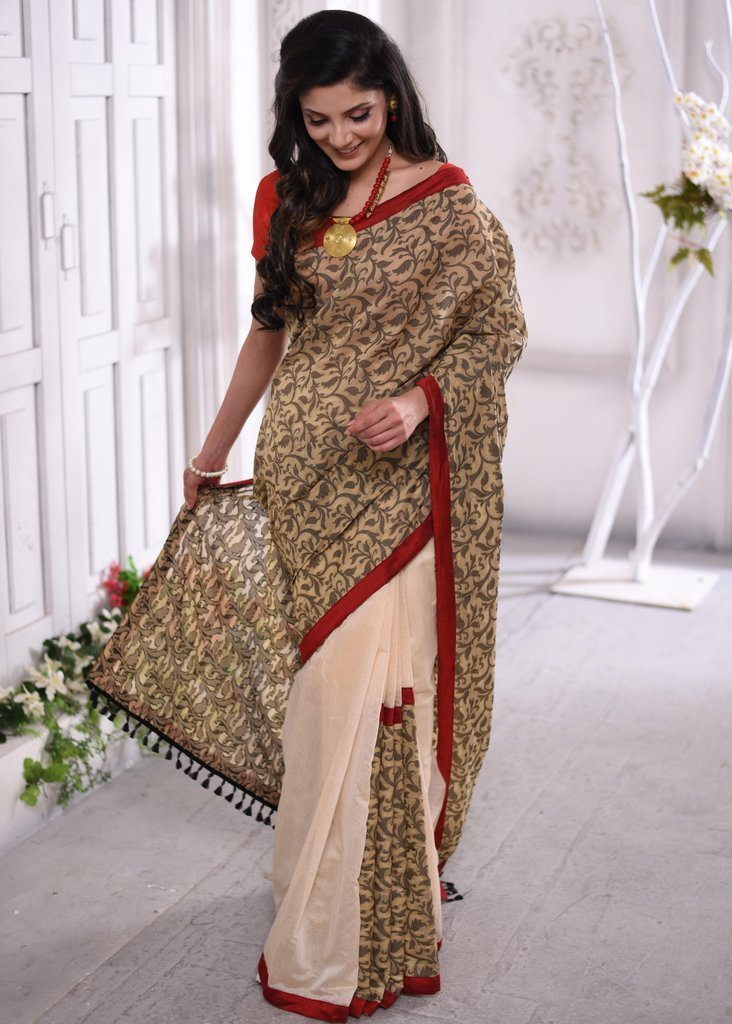 Saree - Benarasi Work Chanderi Designer Saree With Beige Chanderi Pleats