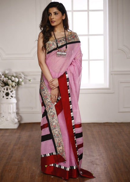 Saree - Bengal Handloom Cotton Saree With Hand Painted Madhubani Border