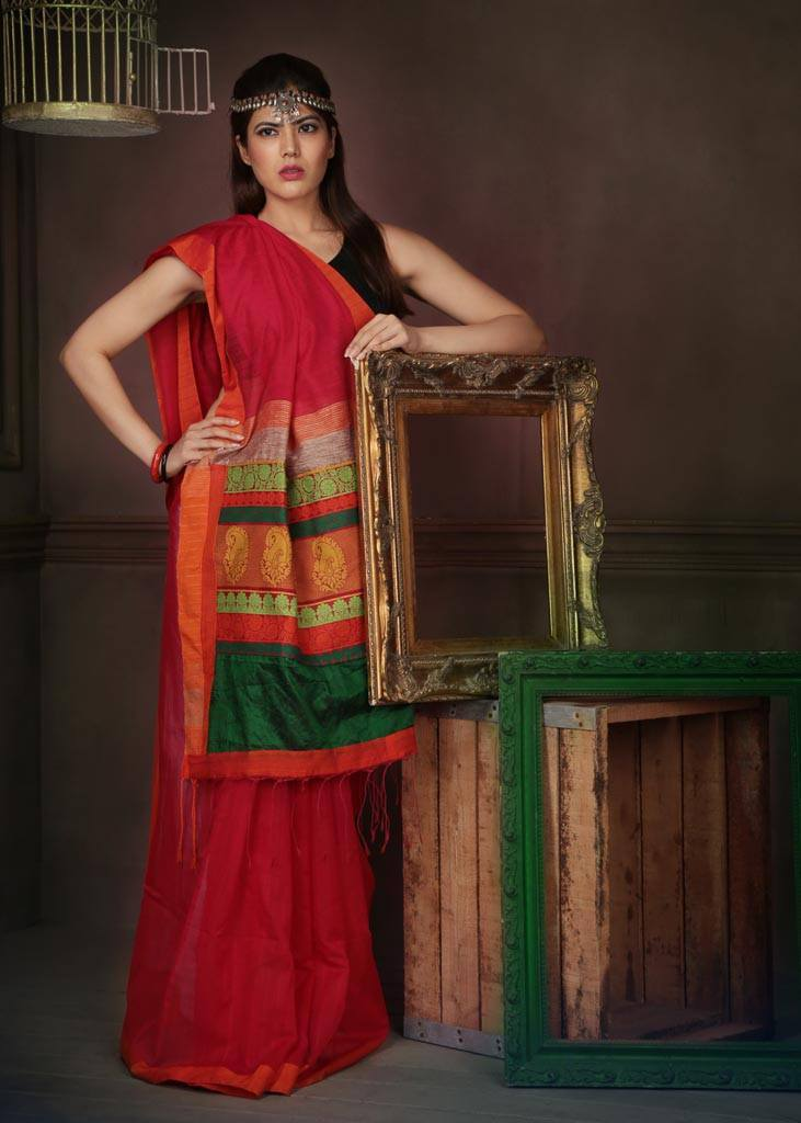 Saree - Bengali Handloom Cotton With Handloom Multicolored Pallu