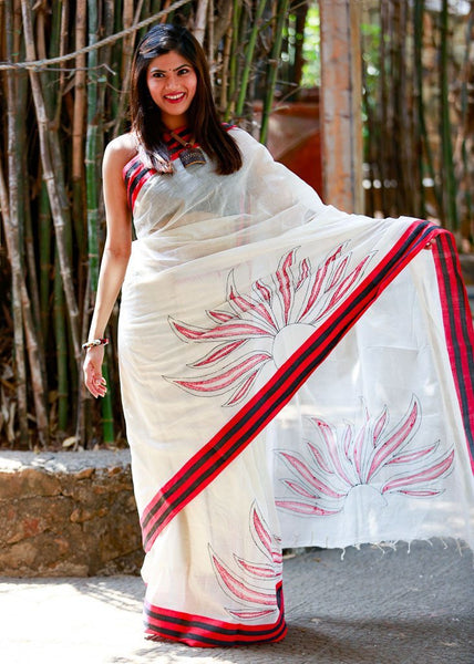 Saree - Bengali Pure Cotton With Hand Embroidered Sun Motif