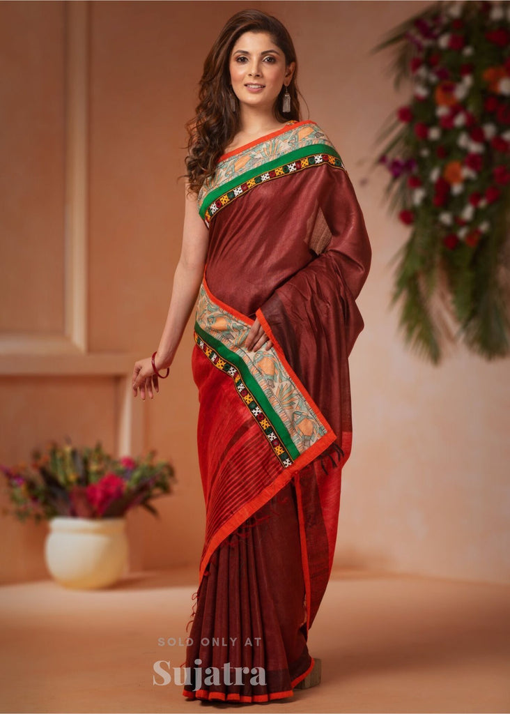 Saree - Bhagalpuri Silk Saree With Hand Painted Madhubani & Kutch Mirror Work Border