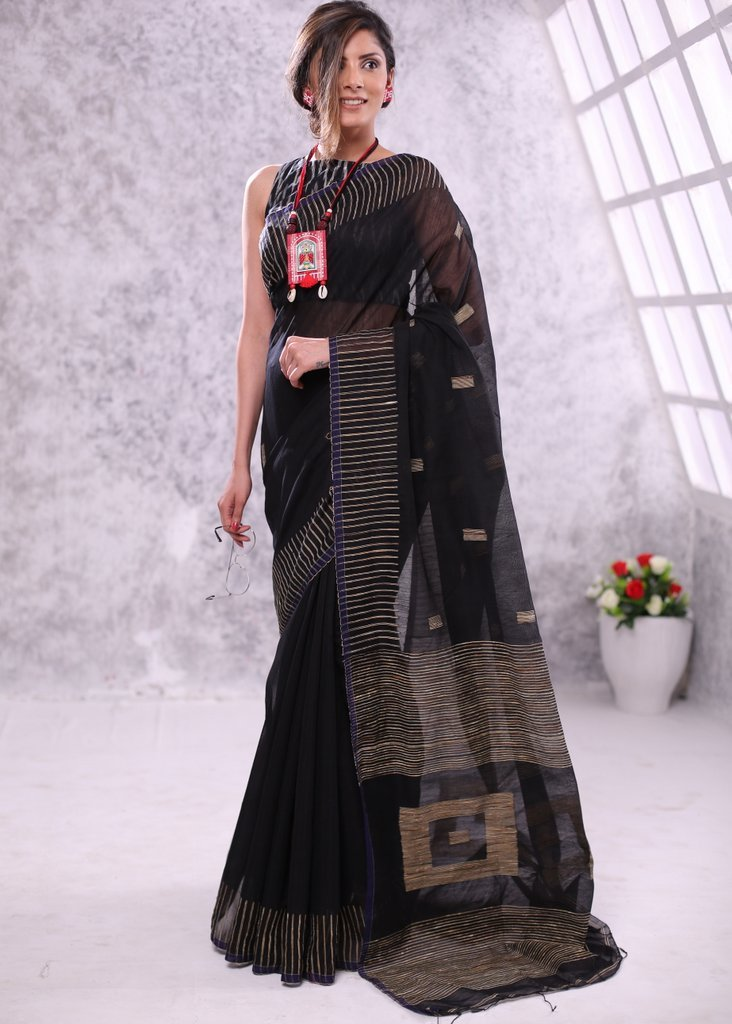 Saree - Black Box Ghicha Bengal Handloom Cotton Saree