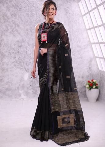 Black box ghicha bengal handloom cotton saree