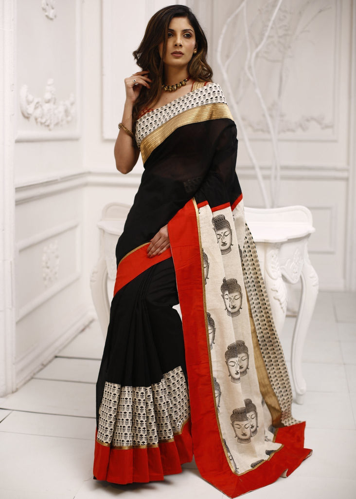 Saree - Black Chanderi Saree With Buddha Print Jute Cotton Pallu