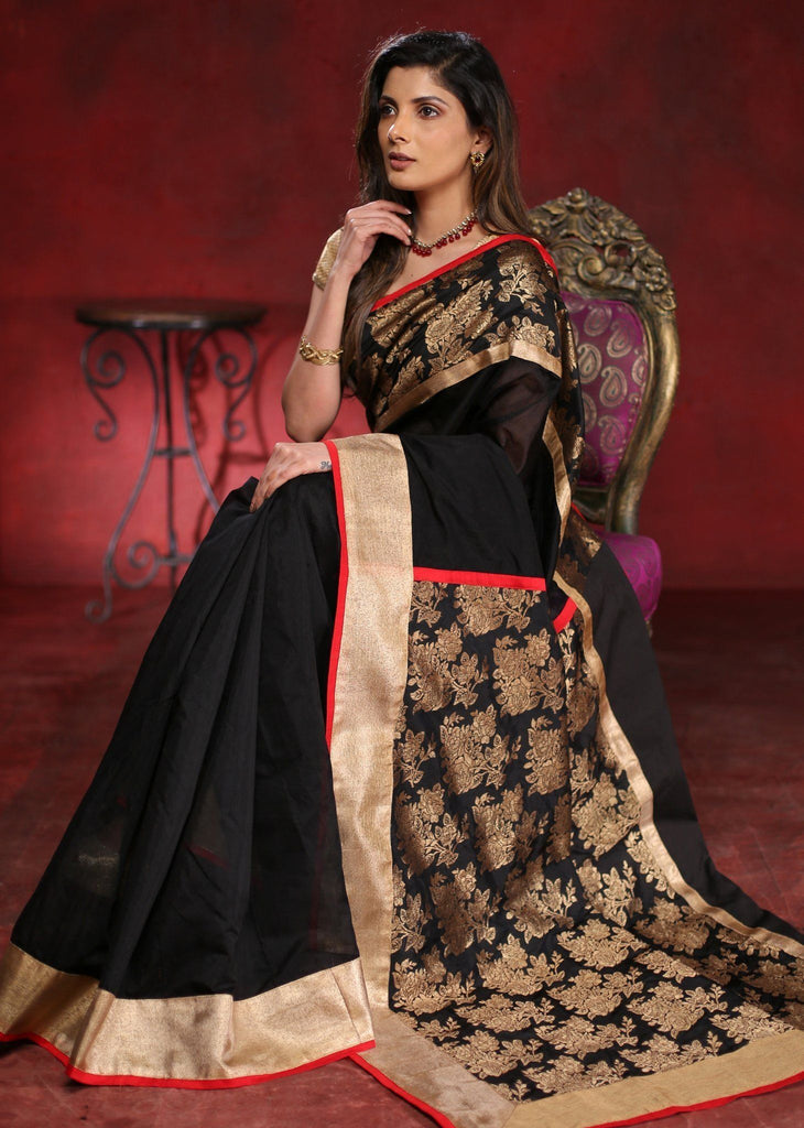 Saree - Black Chanderi Saree With Exclusive Benarasi Silk Pallu And Border