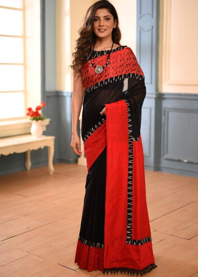 Saree - Black Chanderi Saree With Exclusive Ikat Border & Ikat BP